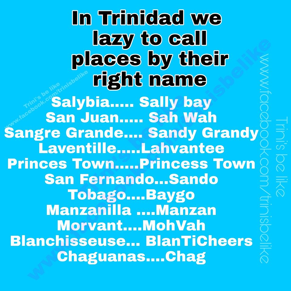 Trinidad & Tobago Lazy Place Names